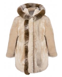 Пальто детское из мутона, цвет: Сливки, отделка Рекс - купить за 11600 в магазине - Гипермаркет меха