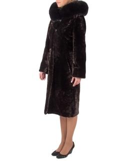 Пальто из мутона, цвет: Шоколад астраган, отделка Песец - купить за 44000 в магазине - Гипермаркет меха