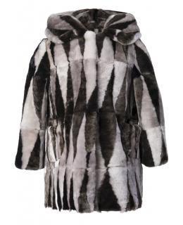 Пальто детское из мутона, цвет: Серый / Коричневый - купить за 10200 в магазине - Гипермаркет меха