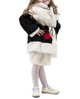 Пальто детское из мутона, цвет: Чёрный / Белый - купить за 11600 в магазине - Гипермаркет меха