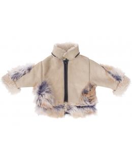 Пальто детское из овчины, цвет: Бежевый, отделка Лиса - купить за 8700 в магазине - Гипермаркет меха