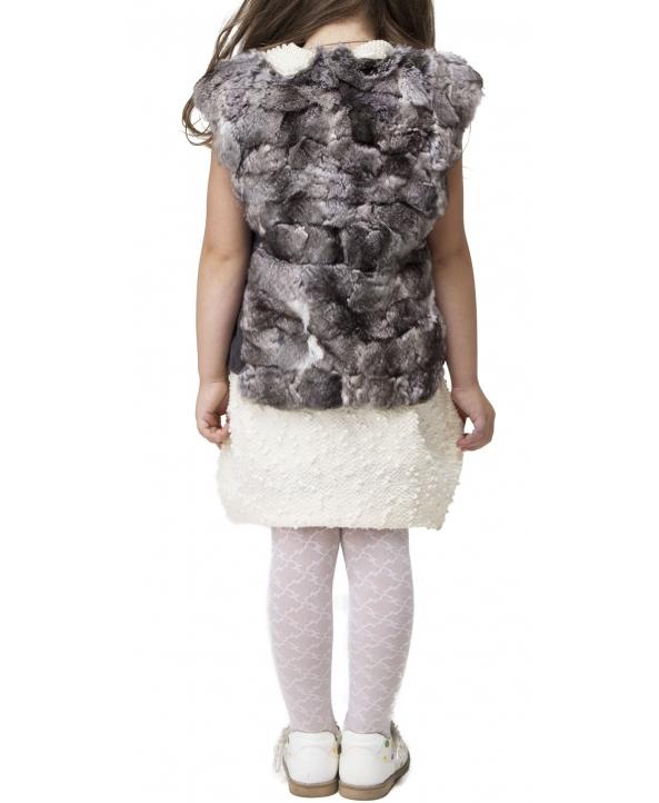 Жилет детский из меха шиншиллы, цвет: Натуральный, отделка Кожа - купить за 11600 в магазине - Гипермаркет меха