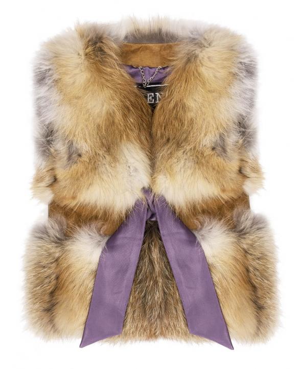 Жилет детский из меха лисы, цвет: Натуральный (лиса), отделка Замша - купить за 9900 в магазине - Гипермаркет меха