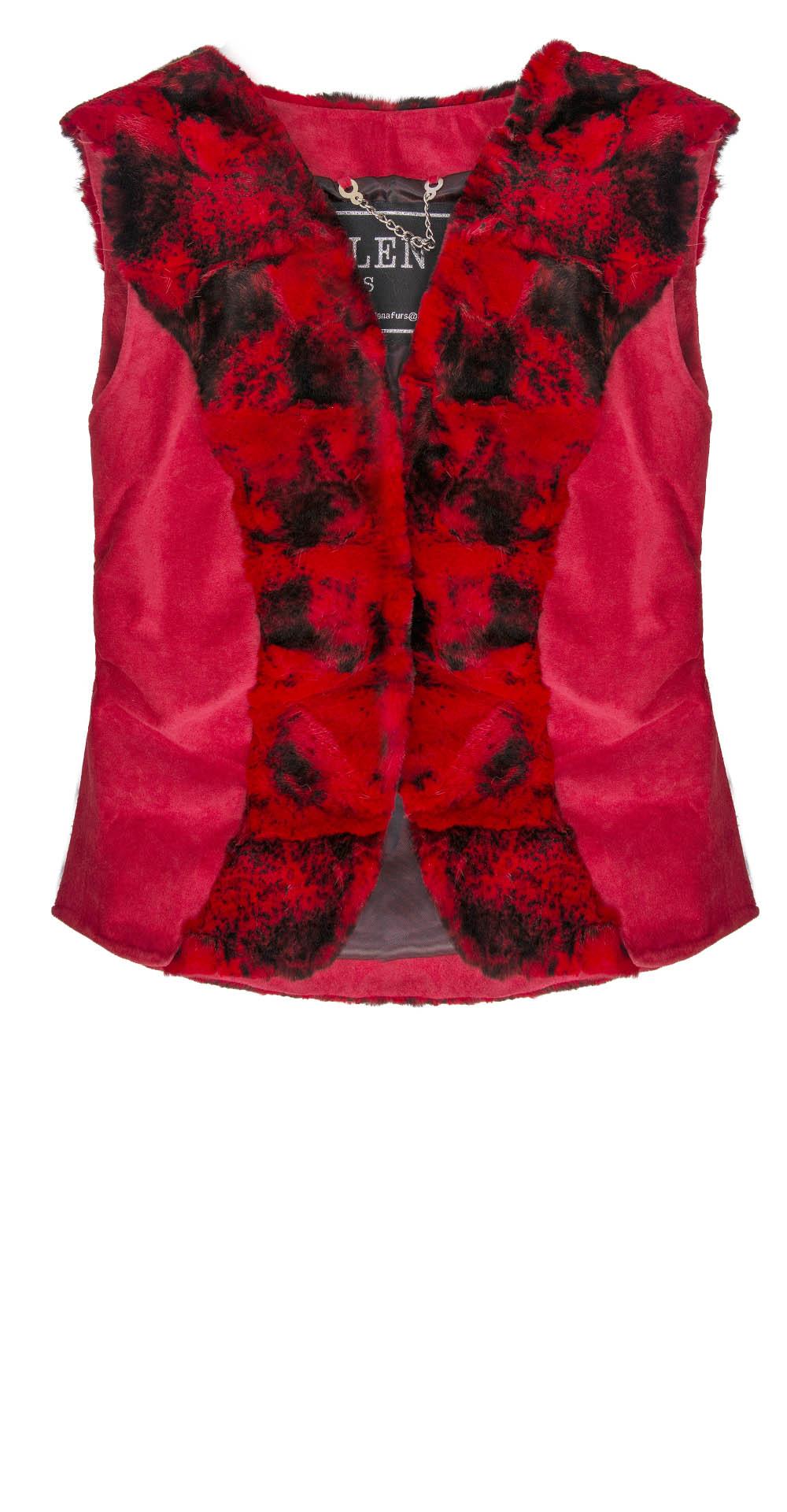 Жилет детский из меха норки, цвет: Красный, отделка Замша - купить за 10200 в магазине - Гипермаркет меха