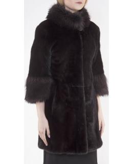 Полупальто из меха норки, цвет: Махагон, отделка Енот - купить за 112200 в магазине - Гипермаркет меха