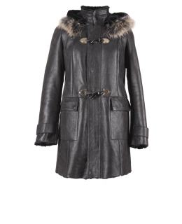 Дублёнка из овчины, цвет: Чёрный, отделка Лиса - купить за 42000 в магазине - Гипермаркет меха